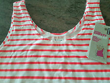 BONDS WOMEN'S FLURO CORAL & WHITE STRIPES CHESTY SINGLET SIZE AUS 16 NEW