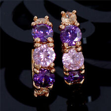 Elegant 18K Gold Plated PURPLE PINK CHAMPAGNE Crystal Hoop Earrings Jewelry UK