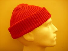 Mens Knitted Beanie- Army Watch Type 100% Wool -Bright Red