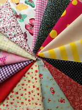 Patchwork Poly Cotton Fabric Remnant Bundle Craft Mixed Offcuts Scraps Material