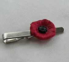 Handmade Unusual Fimo Red & Black Remembrance Poppy Flower Tie Pin Slide
