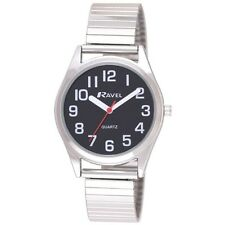 RAVEL LADIES  BOLD CLEAR FACE BLACK ROUND DIAL SILVER EXPANDER BRACELET WATCH
