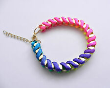 Pink Silk thread Platted Bracelet fashion Christmas party daily