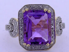 R232 Genuine 9K Yellow Gold Huge NATURAL Amethyst & Diamond Cocktail Ring size M