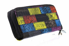 Womens Ladies Envelope Wallet Purse Multi color Leather Style Patch