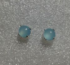 925 Sterling Silver Round Cabochon Aqua Blue Chalcedony Stud Earrings 3.10CTW