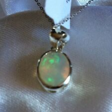 9K White Gold, 1 Ct, AAA, Ethiopian Welo, Opal Pendant, Solitaire, 18""
