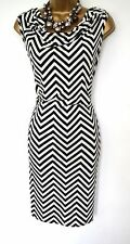 Klass Chevron dress Size 16 Black & ivory Stripe Holiday Cruise Wedding