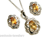 9ct White Gold Citrine Pendant and Earring Set Made in UK Gift Boxed