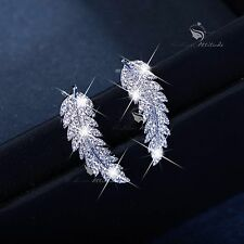 18k white gold filled clear crystal leaves feather earrings stud ear climbers