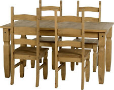 Corona Light Waxed Solid Pine Dining Table Set with Four Chairs