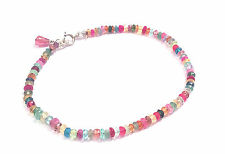 knotted multi gemstone bracelet solid sterling silver roxy catalina jewelry
