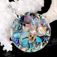 40mm Natural Abalone Shell MOP Round Bead Charm Pendant Fit Necklace Jewellery