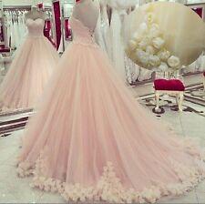 Neu Rosa Brautkleid Abendkleider Ballkleider Blumen Prinzessin Hochzeitskleider