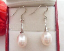 NEW REAL NATURAL WHITE CULTURED PEARL DANGLE DROP EARRING SILVER HOOK AAA