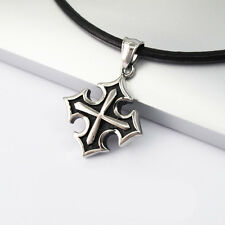Silver Stainless Steel Gothic Cross Pendant Black Leather Surfer Tribal Necklace