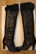 TopShop Black Grainy Leather Knee High/Over Knee Heel Pull On Boots - Size 7