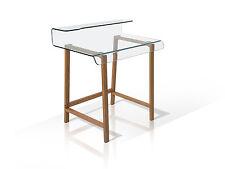 MILLAR Glas Schreibtisch Klarglas 85x55x91cm Glastisch Bürotisch Eichegestell