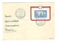 Schweiz Briefmarken Brief von 1951 Ausstellung Lunaba ZNr. 32 Mi. Block 14