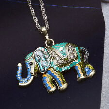 Vintage Wild Animal Elephant Long Sweater Chain Pendant Necklace Jewelry Costume