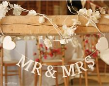 Mr and Mrs Garland Bunting Decoration white Wooden Heart Wedding Sass & Belle