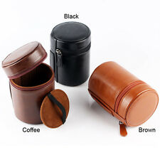Leather Hard Camera Lens Pouch Case For Nikon Canon Sony S diameter 70 x 100mm
