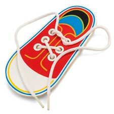 Wooden Lacing Shoe Learn to Tie Laces Threading Motor Skills Early Learning Toy