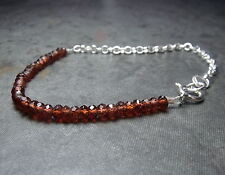 GARNET FACETED RONDELLE With STERLING SILVER CHAIN BRACELET