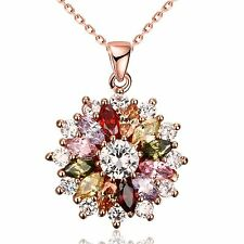 Cubic Zirconia Pendant Necklaces Jewelry Women Rose Gold Plated TXSU