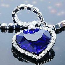 Chic Blue Crystal Heart of Ocean Bling Titanic Diamond Chain Pendant Necklace