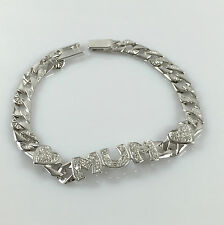 925 Sterling Silver Genuine Ladies Mum Bracelet Curb Chain Cubic Zirconia 7.5""