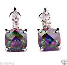 Mystic Rainbow Topaz & White Sapphire Crystal Dangle Hook Silver Earrings NEW