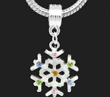 Silver Snowflake Christmas Charms Bead For Charm Bracelets  freepost new year
