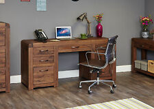 SOLID WOOD WALNUT TWIN PEDESTAL HOME OFFICE COMPUTER DESK