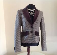LUXURY VIRGIN WOOL CASHMERE CHECK VELVET RIDING STYLE LADIES JACKET SIZE 12