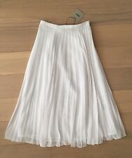 ASOS White Midi / Maxi Pleated Skirt Size 6 New With Tags