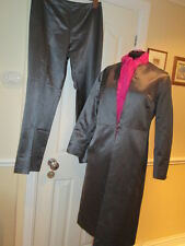 M & S Dark Grey Silk mix Coat with matching trousers Size 14/16