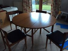 4FT Teak Table 4 Chairs Black leather/PVC look seat pads tidy condition Vintage