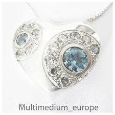 Silber Herz Anhänger mit Zirkonia in weiß blau silver pendant zirconia blue