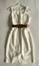 AS NEW VERONIKA MAINE WHITE BAMBOO MIX POCKET TEA GARDEN DRESS SIZE 8 (AU 8-10)