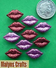 RED & PINK GLITTER LIPS Craft Novelty Buttons Love Valentine Plastic Dress It Up