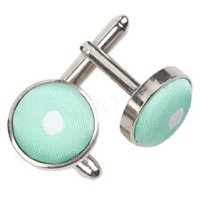 NEW DQT POLKA DOT SILVER PLATED CUFFLINKS - MINT GREEN