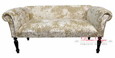 Gorgeous 2 Seater Champagne Cream Crushed Velvet Traditional Style Sofa