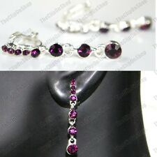 4cm CLIP ON glass PURPLE CRYSTAL DROP EARRINGS silver rhinestone DROPPER