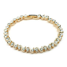 GORGEOUS 18K ROSE GOLD PLATED & GENUINE CLEAR CUBIC ZIRCONIA TENNIS BRACELET