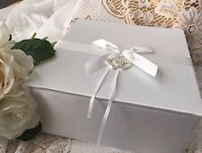NEW WEDDING WISHING WELL CARD MEMORY BOX TREASURE WHITE DOUBLE HEART CRYSTALS