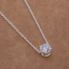 *UK* 925 SILVER PLT SMALL SINGLE CLEAR CRYSTAL PENDANT NECKLACE CHAIN LADIES BAE