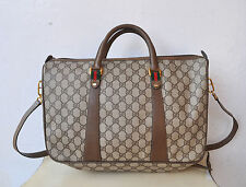 GUCCI Logo Canvas & Leather XL Tote Bag Briefcase Italy Authentic V Rare Vintage