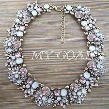 Charm Peach Color Mixed Crystal Rhinestone Bib Statement Choker Collar Necklace