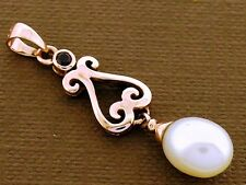 PE056 Genuine 9ct SOLID Rose Gold NATURAL Garnet & Pearl DROP Pendant Scroll